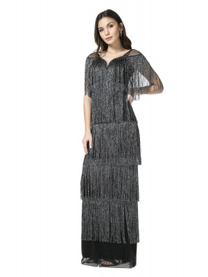 Long Fringed Evening Dress
