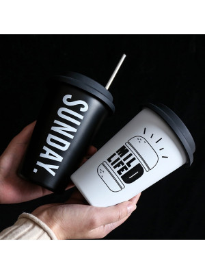 Black White Stainless Steel Silicone Mugs