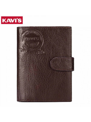 KAVIS Genuine Leather Wallet Men Passport Holder Coin Purse Magic Walet PORTFOLIO MAN Portomonee Mini Vallet Passport Cover