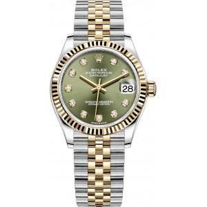 Lady Date Just Half Gold Green Dial For Woman