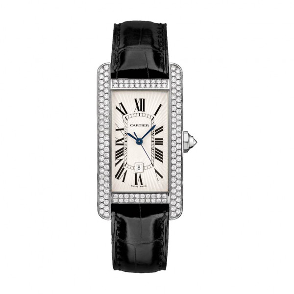 Cartier Tank Americaine 18k White Gold leather For Woman