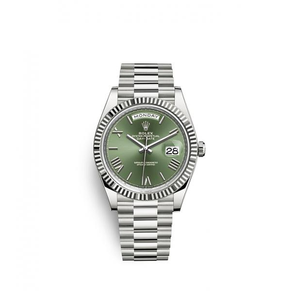 Day Date Green Silver 40m
